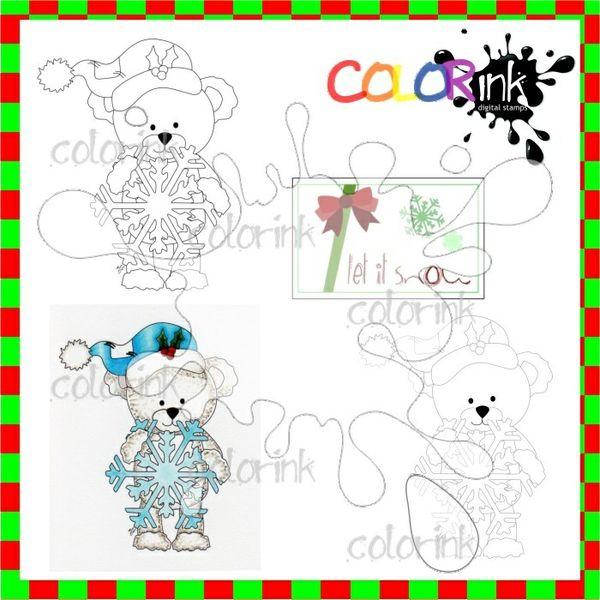 Bastian the Bear snowflake and sentiment Digi stamp