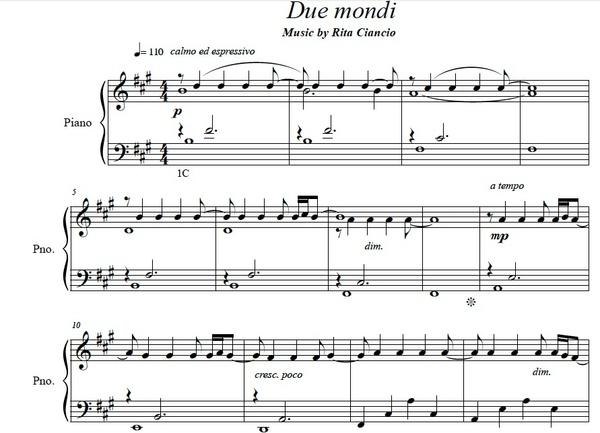 """""""Due Mondi"""" - Rita Ciancio (Piano Sheet Music)"""
