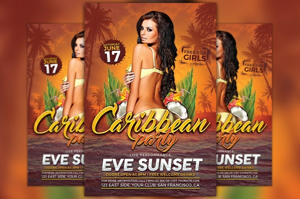 Carribean Party Flyer Template