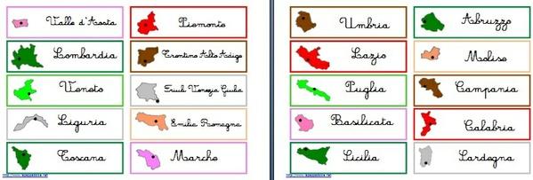 Materiale stampabile per l'incastro dell'Italia Montessori