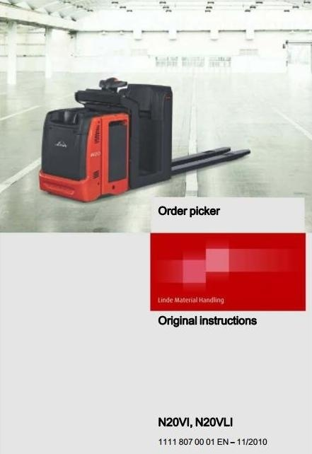 Linde Order Picker Type 1111: N20VI, N20VLI Operating Instructions (User Manual)