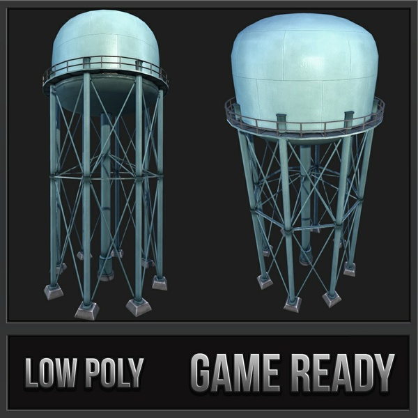 Metal Water Tower | 3D Low Poly Model