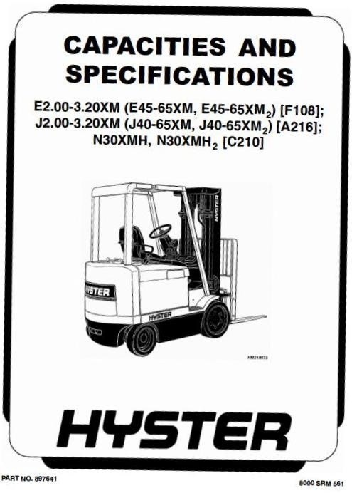 Hyster Electric Forklift Truck Type C210: N30XMH SN before C210V-1615 Workshop Manual