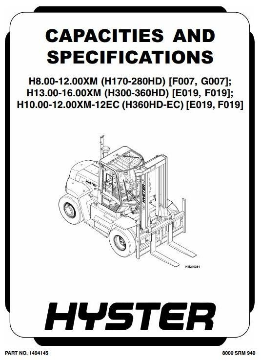Hyster E019: H13.00XM, H14.00XM, H16.00XM, H10.00XM-12EC, H12.00XM-12EC Workshop Manual