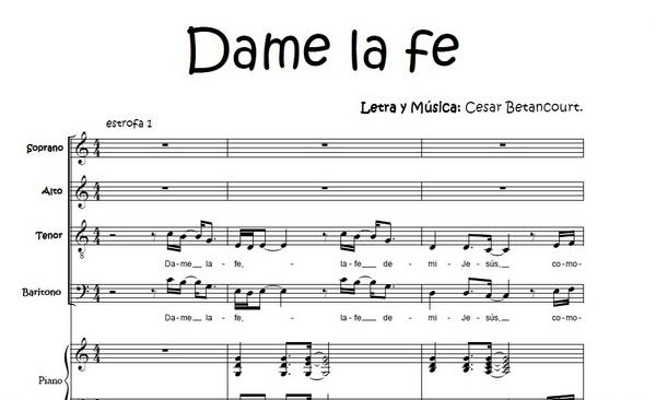 Dame la fe - Score Voces
