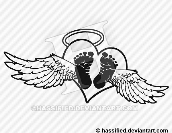 Baby Angel Heart - printable, vector, svg, art