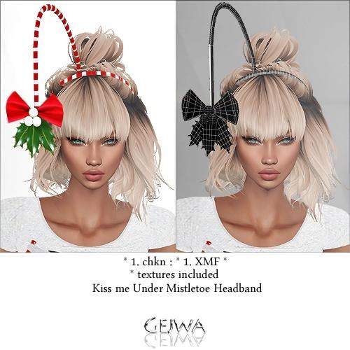 Kiss Me Under Mistletoe HeadBand IMVU MESH & TEXTURE