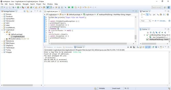 Program that analyzes a web server's log file