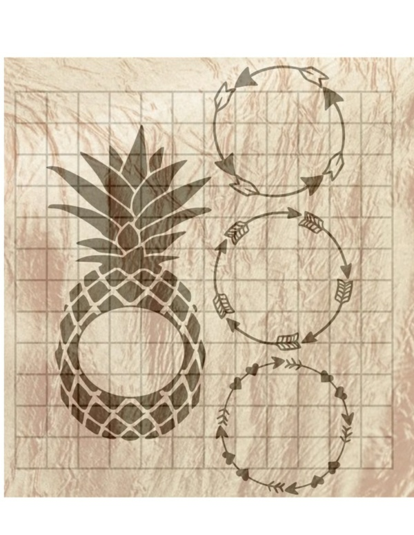 Monogram Pineapple, Monogram Circle Arrows