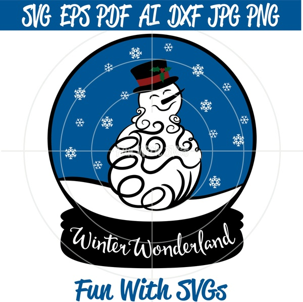 Snow Globe Snowman, SVG Files, Winter SVGs, Winter Wonderland