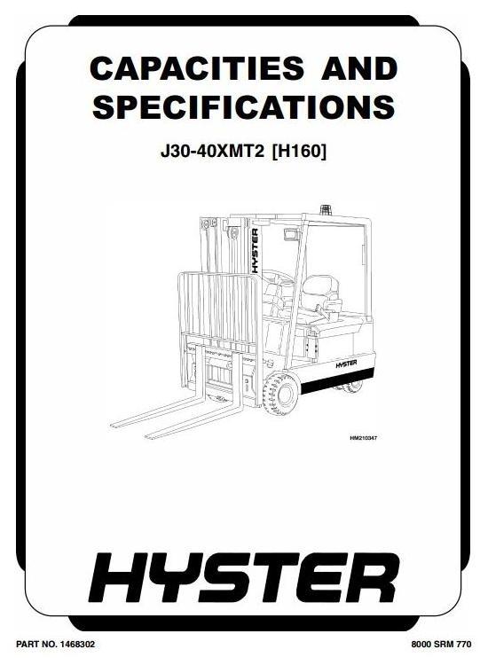 Hyster Forklift Truck Type H160: J30XMT2, J35XMT2, J40XMT2 Workshop Manual