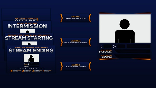 Orange and Blue Twitch Stream Rebrand and Overlay Photoshop Template Pack