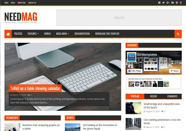 NeedMag Blogger Template Premium Version