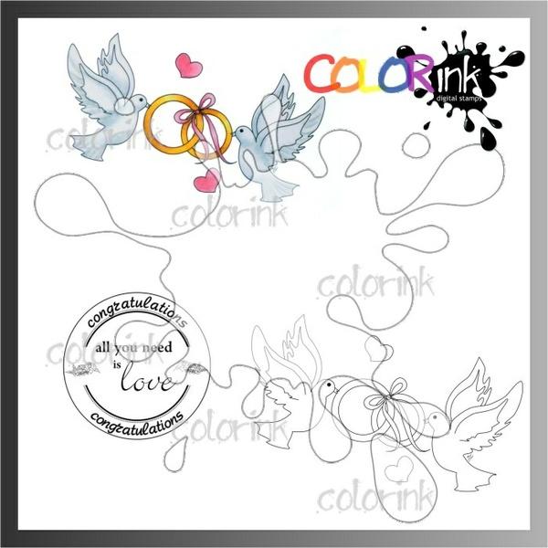 Love doves and sentiment Digi stamp