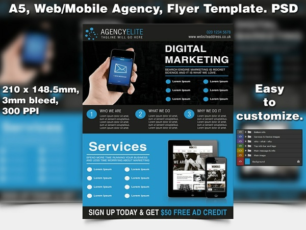 Web-Mobile Agency Flyer Template (A5 PSD)