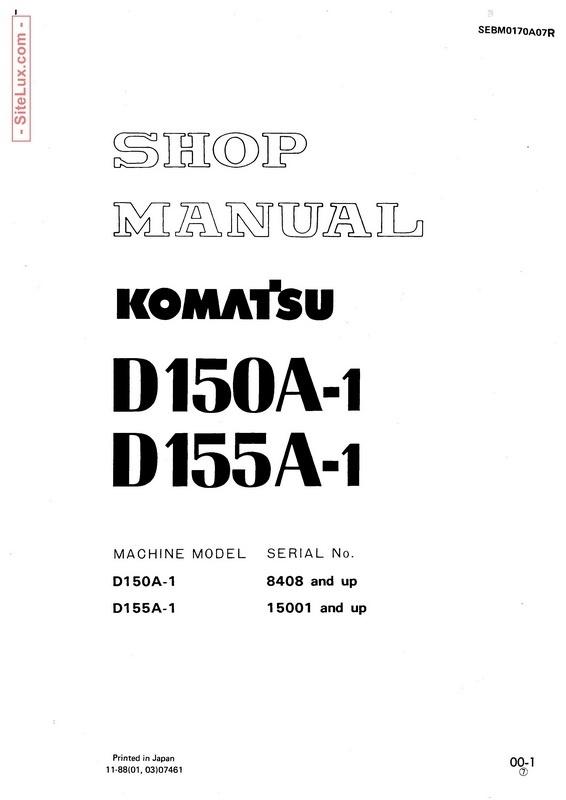 Komatsu D150A-1, D155A-1 Bulldozer Shop Manual - SEBM0170A07R