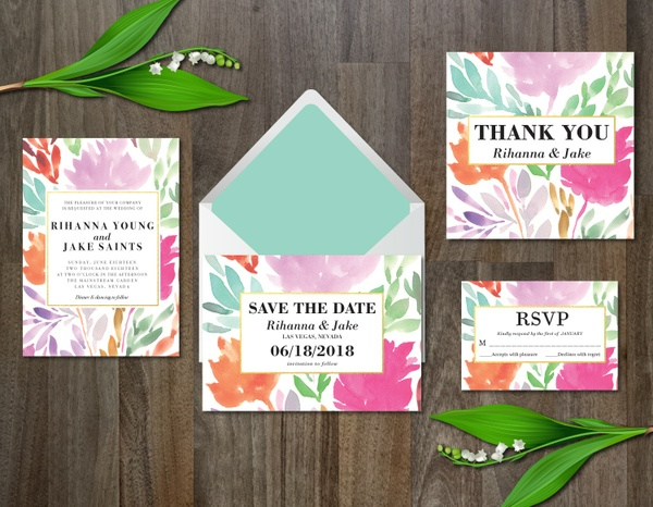 Watercolor Flower Wedding Suite Invitation