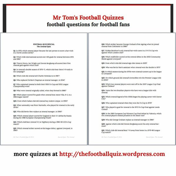 Mr Tom's Arsenal Football Quiz