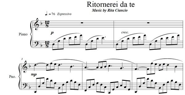 """""""Ritornerei da Te"""" - Rita Ciancio (Piano Sheet Music)"""