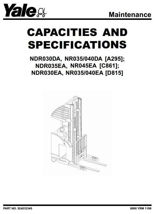 Yale Truck NDR030DA, NR035/040DA, NDR035EA, NR045EA; NDR030EA, NR035/040EA Service Manual