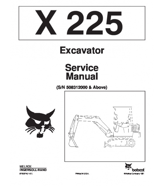 Bobcat 225 Excavator Service Repair Manual PDF S/N 5083 12000 & Above