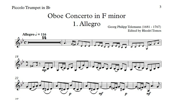 Telemann TWV51:F1 Oboe Concerto in F minor accompaniment mp3 and solo sheet music pdf