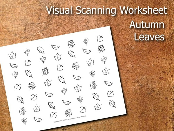 Visual Scanning Worksheet - Autumn Leaves