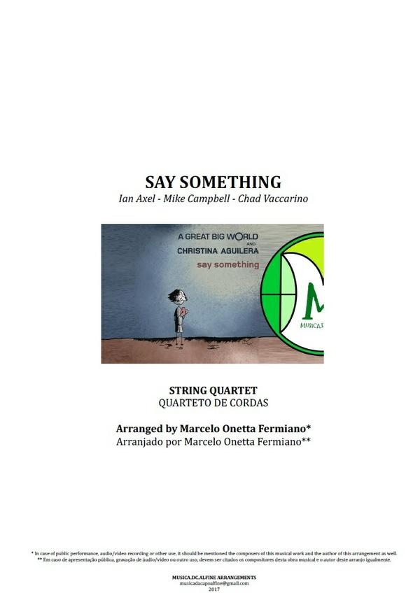 Say Something | A Great Big World | Quarteto de Cordas | Partitura Completa