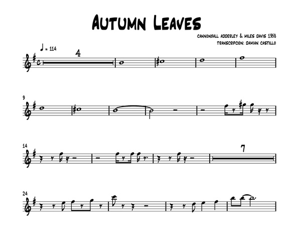 """Autumn Leaves"" - Cannonball Adderley & Miles Davis - Sax alto."