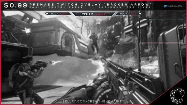 """Broken Arrow"" pre-made twitch overlay"