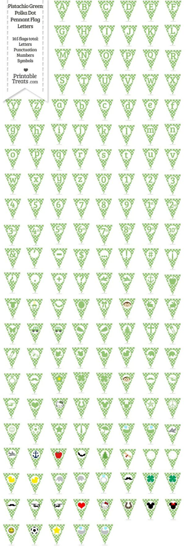 165 Pistachio Green Polka Dot Pennant Flag Letters Password