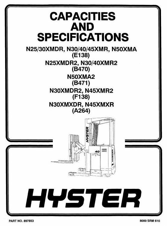 Hyster Truck E138: N25XMDR, N30XMDR, N30XMR, N40XMR, N45XMR, N50XMA Workshop Manual