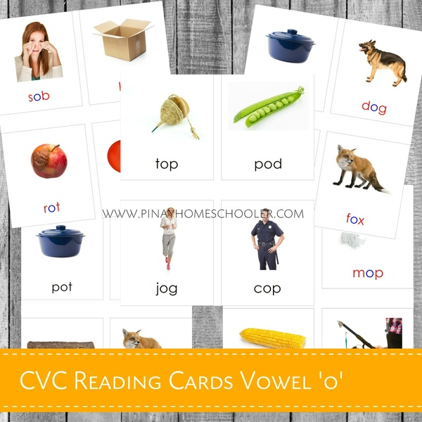 Montessori CVC Reading Cards Vowel 'O'