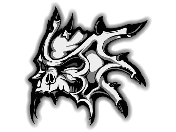 Tshirt Design - Horned Skull In Black And White