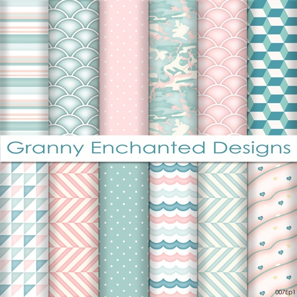 Soft Beach: 12 Digital Papers– in Teal, Blue, White, and Blush Patterns (007p1)
