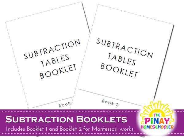 Montessori Subtraction Booklets