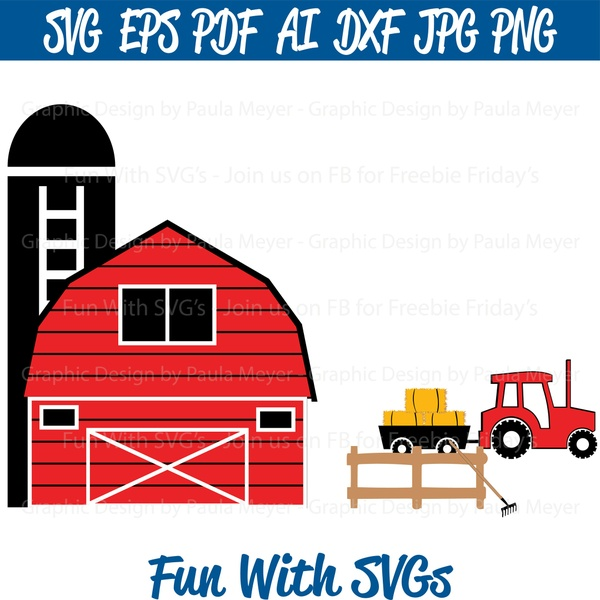Harvest Tractor, Trailer, Barn, Silo, Rake, Fence, Hay Bales, SVG Cut File, Printable and Vector Art