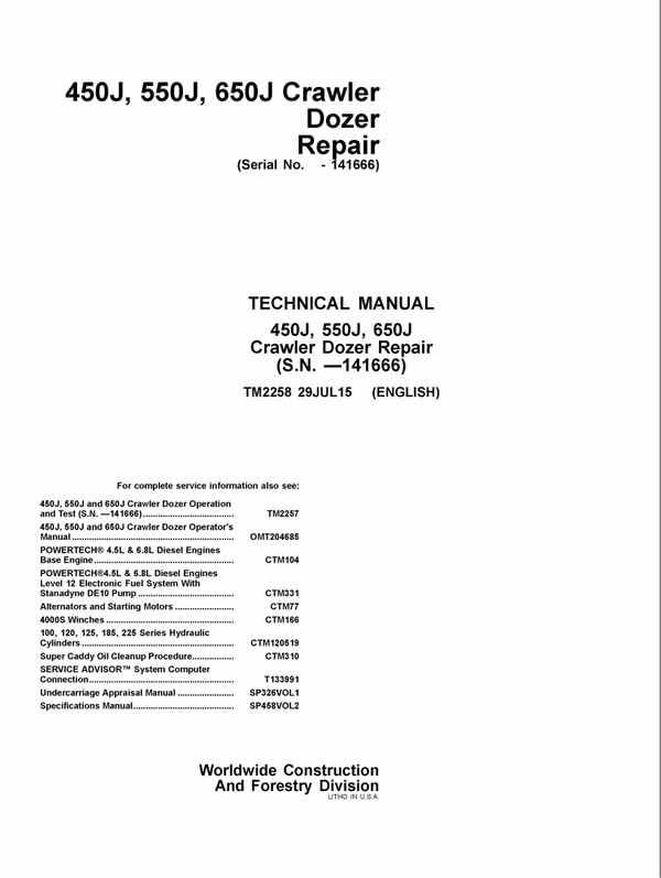 DOWNLOAD JOHN DEERE 450J 550J 650J CRAWLER DOZER REPAIR SERVICE TECHNICAL MANUAL TM2258