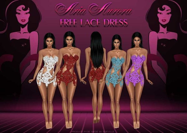 FREE LACY DRESS 3 SIZES 4 COLORES+ PSD.NO RESELL,MUST USE PROVIDED MESHES