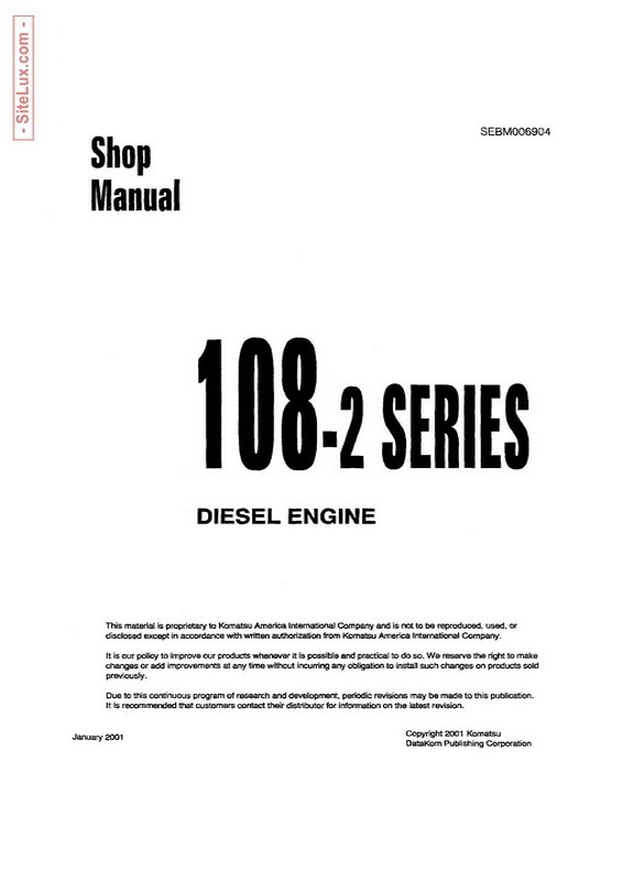 Komatsu 108-2 Series Diesel Engine Shop Manual - SEBM006904