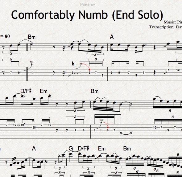 COMFORTABLY NUMB (End Solo) - Transcription (TABs + Notation)