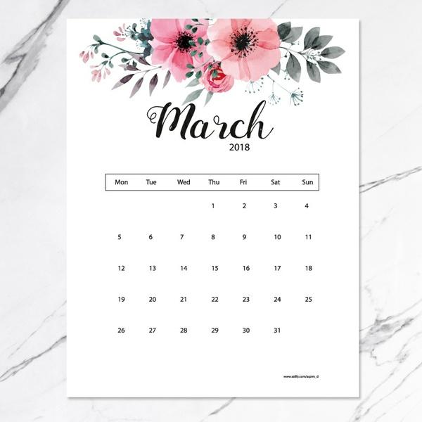 free printable 2018 calendar - flowers