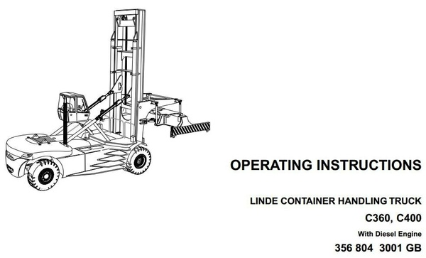 Linde Container Handler Type 356: C360, C400 Operating Instructions (User Manual)