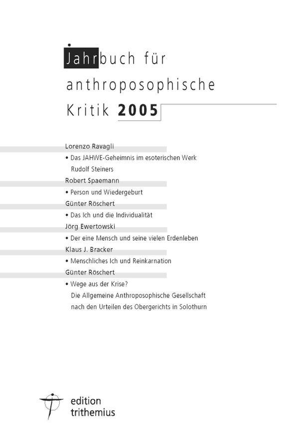 Jahrbuch für anthroposophische Kritik 2005 (176 S.)