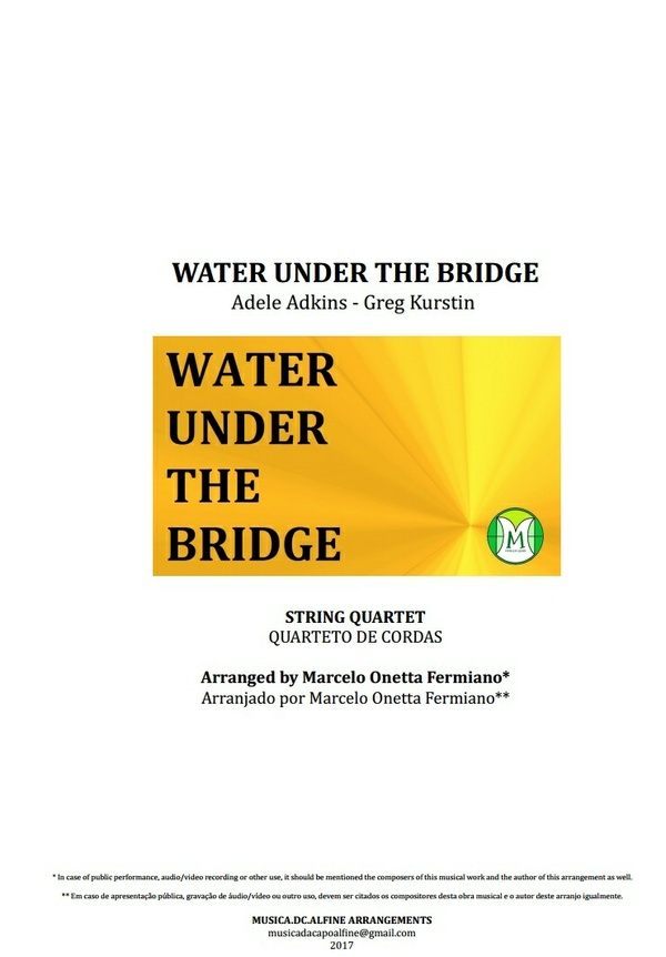 Water Under the Bridge - Adele - String Quartet - Score and Parts