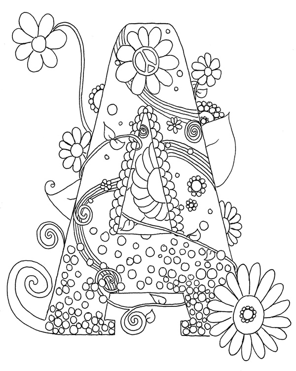 "Letter ""A"" Hippy Initial Coloring Page"
