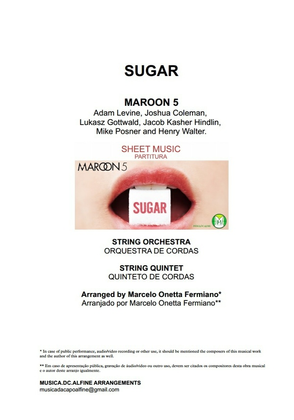 D (key) - Sugar - Maroon 5 - String Orchestra Sheet Music - Score and parts