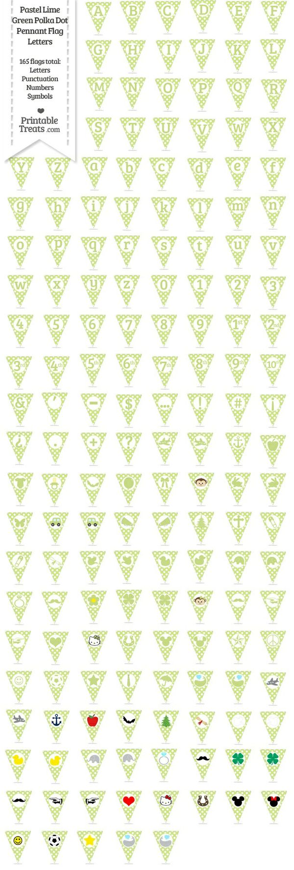 165 Pastel Lime Green Polka Dot Pennant Flag Letters Password