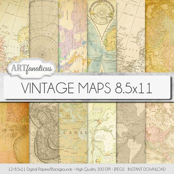 VINTAGE MAPS 8.5X11 DIGITAL PAPER