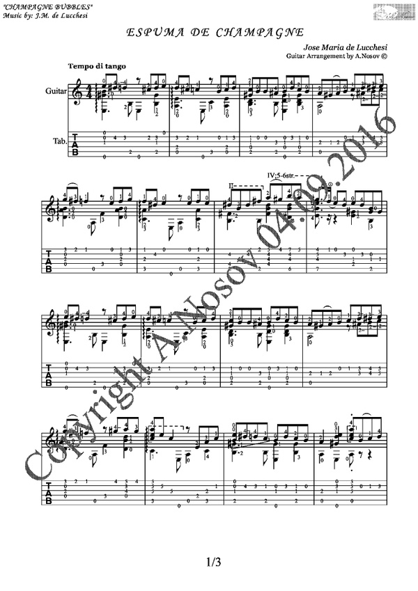Espuma de Champagne (J.M. de Lucchesi) Sheet music for guitar